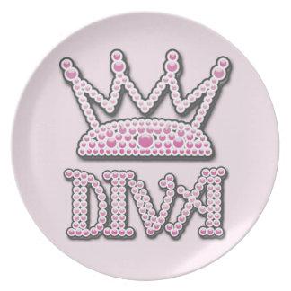印刷されるかわいいピンクは花型女性歌手のプリンセスの王冠を真珠で飾ります プレート