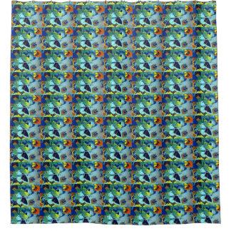 印刷されるかわいい設計されていた青い蝶コラージュ シャワーカーテン