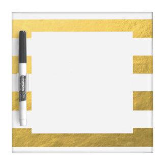 印刷されるエレガントな白のストライプの金ゴールドホイル ホワイトボード
