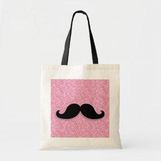 印刷されるガーリーで黒い髭のピンクのグリッター トートバッグ