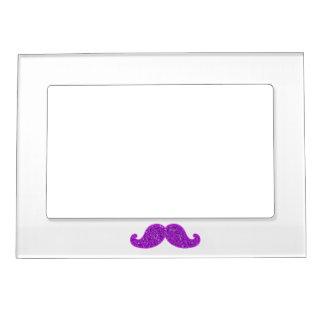 印刷されるガーリーなおもしろいのレトロの髭の紫色のグリッター マグネットフレーム