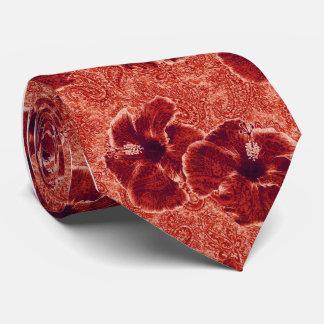 印刷されるペイズリーのハイビスカスのレトロの独身の側 ネクタイ