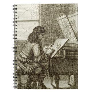 印刷される版木、銅版、版画のプレートにコピーしている芸術家 ノートブック