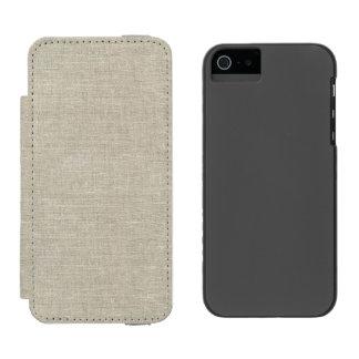 印刷される素朴なベージュ麻布 iPhone SE/5/5sウォレットケース