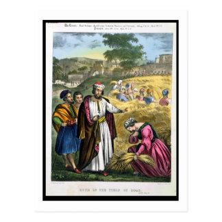 印刷される聖書からのBoazの分野のルース、 ポストカード