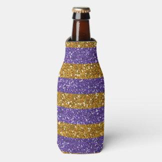 印刷される金ゴールドおよび紫色のグリッターのストライプ ボトルクーラー