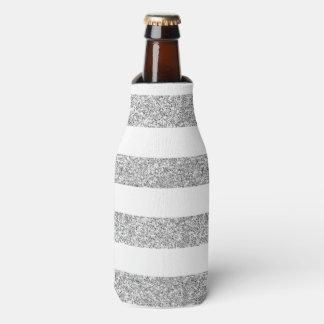印刷される銀製のグリッターの魅力の白のストライプ ボトルクーラー