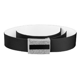 印刷される銀製のグリッターの魅力の黒のストライプ ベルト