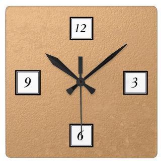 印刷される青銅色ホイル スクエア壁時計