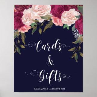 印海軍ピンクの花模様を結婚するカードギフト ポスター