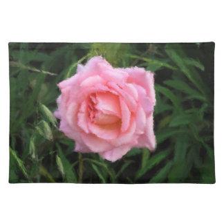 印象主義のピンクのバラ ランチョンマット
