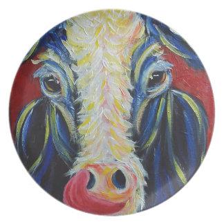 印象主義のポストの印象主義牛家畜 プレート