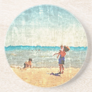 印象派のビーチ場面水彩画のコースター コースター