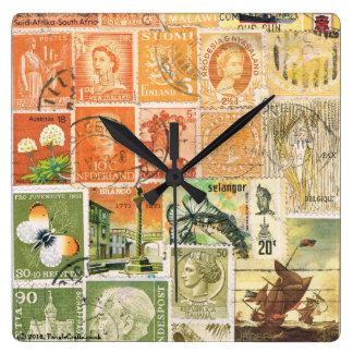 印象派の日没の柱時計、切手の芸術 スクエア壁時計