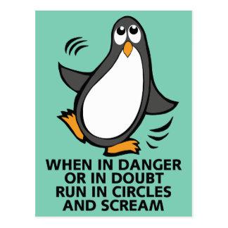 危険か不確かでおもしろいなペンギンのグラフィックで時 ポストカード