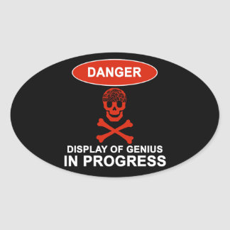危険の天才 楕円形シール