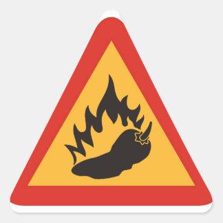 危険の熱いチリペッパー 三角形シール
