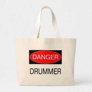 危険-ドラマーのおもしろいなミュージシャンのTシャツのマグのエプロン ラージトートバッグ