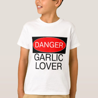 危険-ニンニクの恋人のおもしろTシャツのマグの帽子のエプロン Tシャツ