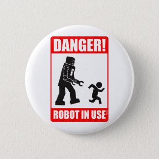 危険! ロボット使用中のボタン 缶バッジ