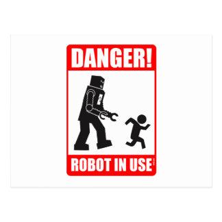 危険! ロボット使用中の郵便はがき ポストカード