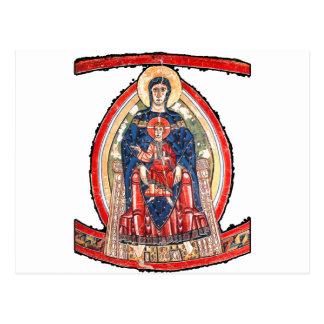 即位するマドンナ- 12世紀 ポストカード