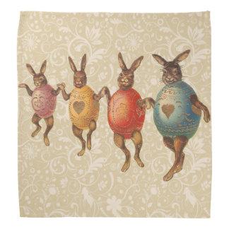 卵のコスチュームによって踊るヴィンテージのイースターのウサギ バンダナ