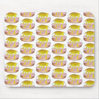 卵のベネディクトの朝食のダイナーの食糧グルメのハムのピンク マウスパッド