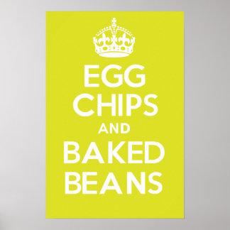 卵の破片および焼いたな豆 ポスター