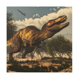 卵を保護しているティラノサウルス・レックスのレックスの恐竜 ウッドウォールアート