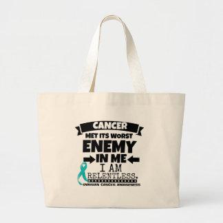 卵巣癌は私の最も悪い敵に会いました ラージトートバッグ