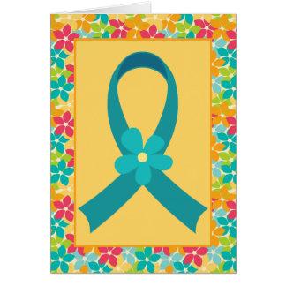 卵巣癌またはPCOSのティール(緑がかった色)のリボンの認識度 カード