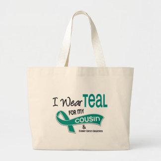 卵巣癌私は私のいとこ42のためのティール(緑がかった色)を身に着けています ラージトートバッグ