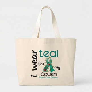 卵巣癌私は私のいとこ43のためのティール(緑がかった色)を身に着けています ラージトートバッグ