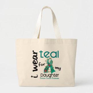 卵巣癌私は私の娘43のためのティール(緑がかった色)を身に着けています ラージトートバッグ