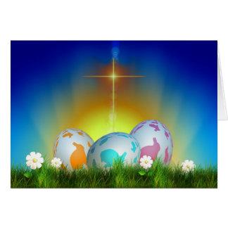 卵、日の出および十字のイースター カード