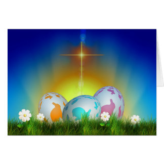 卵、日の出および十字のイースター グリーティングカード