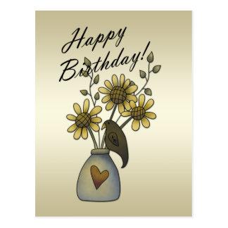 原住民は郵便はがきヒマワリの誕生日の鳴きます ポストカード