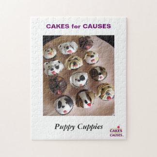 原因の子犬のCuppiesのパズルのためのケーキ ジグソーパズル