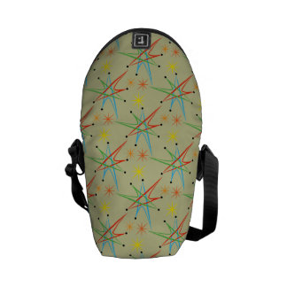 原子スターバストのレトロの多彩パターン メッセンジャーバッグ