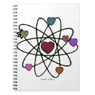 原子バレンタインのヒョウのプリントのハート ノートブック