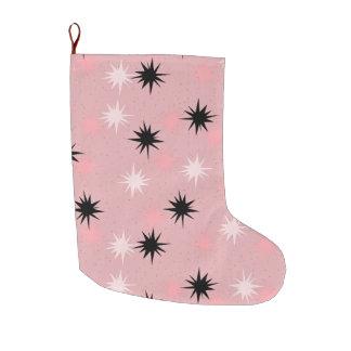 原子ピンクのスターバストのクリスマスのストッキング ラージクリスマスストッキング