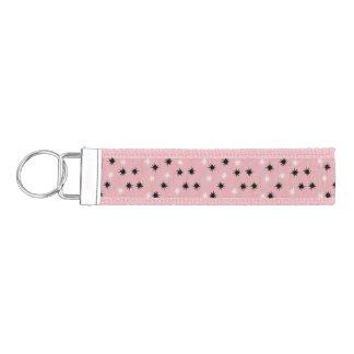 原子ピンクのスターバストのGrosgrain Keychain リストバンドキーホルダー