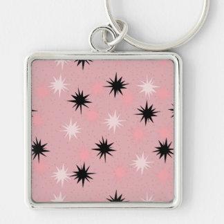 原子ピンクのスターバストKeychain キーホルダー