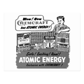 原子力化学セットとの低俗なヴィンテージ ポストカード