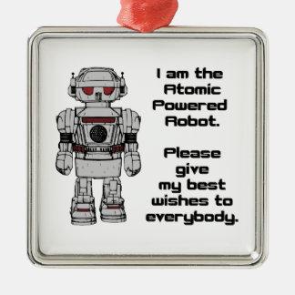 原子動力を与えられたおもちゃのロボットからの幸運を祈ります メタルオーナメント