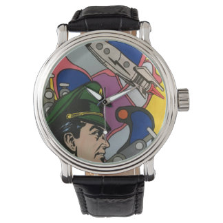 原子抽象芸術aのロケットの大尉の絵画 腕時計