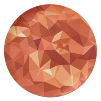 原子蜜柑のオレンジの抽象芸術の低い多角形Backg プレート