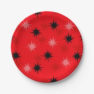原子赤いスターバストの紙皿 ペーパープレート