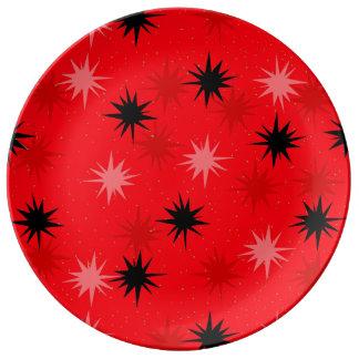 原子赤いスターバストの装飾的な磁器皿 磁器プレート
